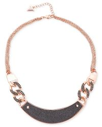 Guess | Gray Rose Gold-tone And Hematite Crystal Necklace | Lyst