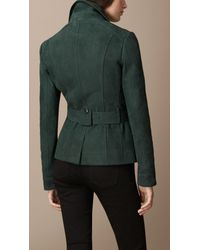 Burberry - Green Nubuck Field Jacket - Lyst