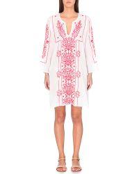 Juliet Dunn | Pink Neon-embroidery Cotton Kaftan | Lyst