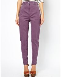 ASOS | Purple Peg Trousers with Seam Detail in Twill | Lyst