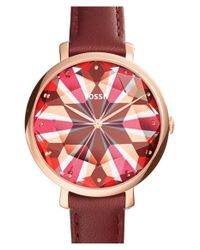 Fossil | Red 'jacqueline' Leather Strap Watch | Lyst