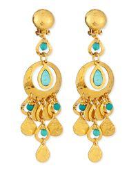 Jose & Maria Barrera | Metallic 24K Gold Plated & Turquoise Chandelier Clip-On Earrings | Lyst