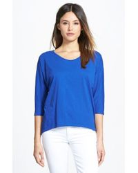 Eileen Fisher | Blue Rounded V-Neck Organic Cotton Tee | Lyst