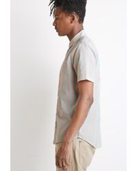 Forever 21 | Blue Awning-striped Shirt for Men | Lyst