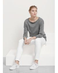Violeta by Mango - Gray Contrast Hem Sweater - Lyst