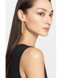 St. John | Metallic Boucle Knot Earrings - Light Gold | Lyst