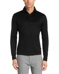 BOSS Black Regular-fit Long-sleeved Polo Shirt In Cotton: 'gatteo 01' for men