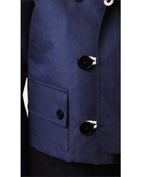 Burberry - Blue Bonded Poplin Cropped Anorak for Men - Lyst