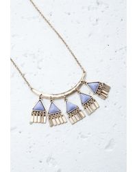 Forever 21 - Purple Faux Stone Triangle Charms Necklace - Lyst
