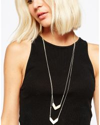 SELECTED | Metallic Turner Double Drop Necklace | Lyst