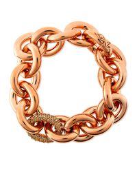 Eddie Borgo | Pink Rose Gold Pave-link Chain Bracelet | Lyst