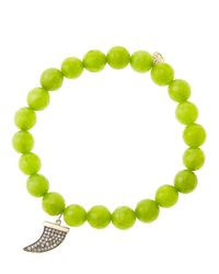 Sydney Evan | Green 8mm Faceted Lime Jade Beaded Bracelet | Lyst