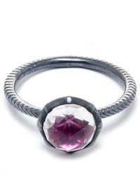 Larkspur & Hawk - Metallic Silver Scarlet Stone Bella Stacking Round Ring - Lyst