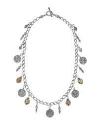 Konstantino - Metallic Sterling Silver Cognac Quartz Citrine Charm Necklace - Lyst