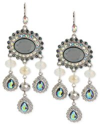Betsey Johnson - Metallic Silver-Tone Crystal And Bead Chandelier Earrings - Lyst
