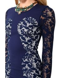 Glamorous | Blue Lace Sleeve Bodycon Dress | Lyst