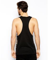 ASOS | Black Tank With Renaissance Varsity Print And Extreme Racer Back for Men | Lyst