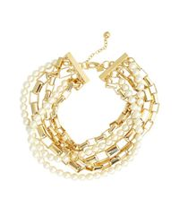 Tuleste - Metallic Goldtone Box Chain And Pearl Multi-strand Bracelet - Lyst