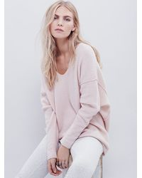 Free People | Pink Softly Vee Sweater | Lyst