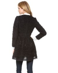 RED Valentino - Black Lace Coat - Lyst