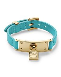 Michael Kors | Blue Leather Wrap Padlock Bracelet Turquoisegolden | Lyst