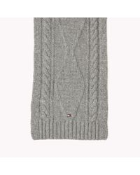 Tommy Hilfiger | Gray Wool Cotton Blend Scarf for Men | Lyst