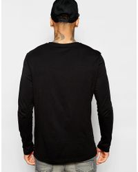 ASOS - Black Relaxed Long Sleeve T-shirt With Mickey Chest Print for Men - Lyst