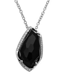 Lord & Taylor | Metallic Sterling Silver Black Onyx Diamond Pendant Necklace | Lyst