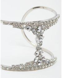 Lipsy - Metallic Crystal Micro Pave Cuff Bracelet - Lyst