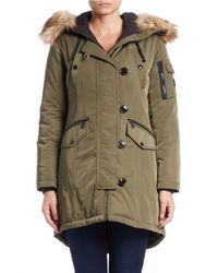 MICHAEL Michael Kors | Green Faux Fur-trimmed Hooded Parka | Lyst