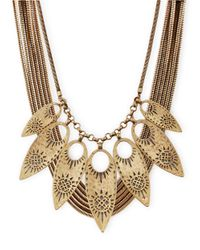 Lucky Brand | Metallic Gold-tone Leaf Statement Necklace | Lyst