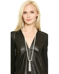 Oscar de la Renta   Metallic Tassel & Glass Pearl Necklace - Crystal/silver   Lyst