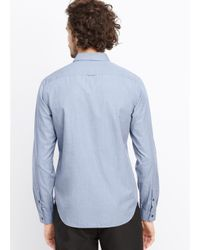 Vince - Blue Lightly Textured Button Up for Men - Lyst