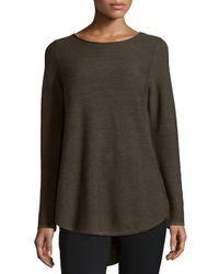 Eileen Fisher - Green Long-sleeve Merino Wool Tunic - Lyst