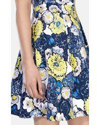 Karen Millen   Blue Daisy Floral Print On Cotton Dress   Lyst