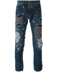 Diesel Black Gold - Blue Patchwork Ripped Jeans for Men - Lyst