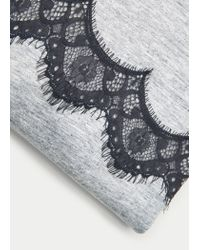 Violeta by Mango - Gray Lace Panel T-shirt - Lyst