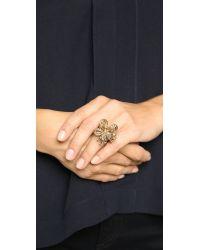 Oscar de la Renta - Metallic Floral Baguette Ring - Cry Gold Shadow - Lyst
