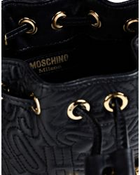 Moschino | Black Logo-Quilted Bucket Bag | Lyst