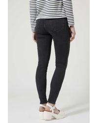 TOPSHOP | Black Moto Zip Ankle Jamie Jeans | Lyst