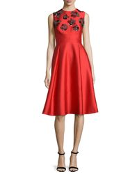 Lela Rose - Embroidered Shantung Sleeveless Dress - Lyst
