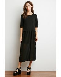 Forever 21 | Black Crop Top And Chiffon Dress Combo | Lyst