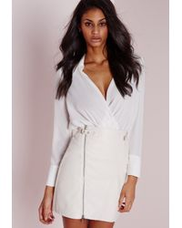 Missguided - Faux Leather Buckle Zip A Line Skirt White - Lyst
