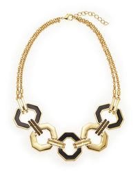 Rebecca Minkoff | Metallic Gold-Tone & Black Accented Necklace | Lyst