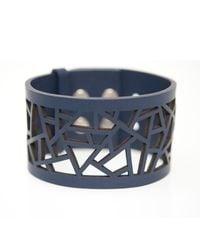Ona Chan Jewelry | Blue Leather Lattice Cuff Navy | Lyst