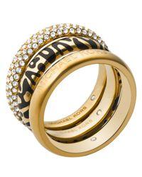 Michael Kors | Metallic Animal Print & Pavé Rings, Set Of 3 | Lyst