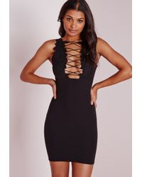 Missguided | Crepe Applique Lace Up Bodycon Dress Black | Lyst