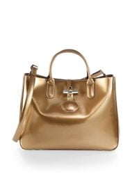 Longchamp | Roseau Metallic Patent Leather Box Tote | Lyst