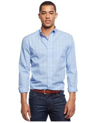 Izod | Blue Big And Tall Long-sleeve Windowpane Shirt for Men | Lyst