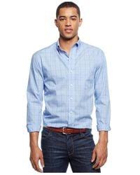 Izod - Blue Big And Tall Long-sleeve Windowpane Shirt for Men - Lyst